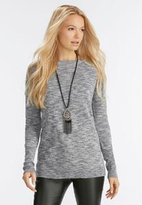 Lace Up Back Space Dye Sweater