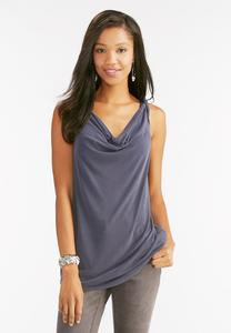 Draped Neck Silk Wash Tank-Plus