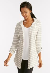 Striped Waterfall Hoodie-Plus
