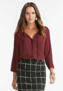 Tie Neck Button Down Poet Top-Plus