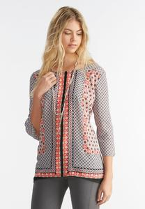 Retro Tile Print Top-Plus