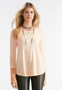 Lace Cuff Mineral Wash Top- Plus