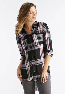 Exaggerated High-Low Plaid Shirt