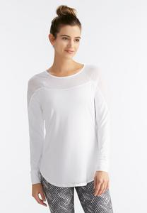 Mixed Sheer Performance Top-Plus