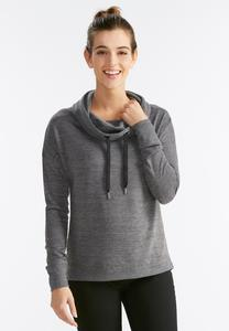 Drawstring Cowl Neck Sweatshirt-Plus