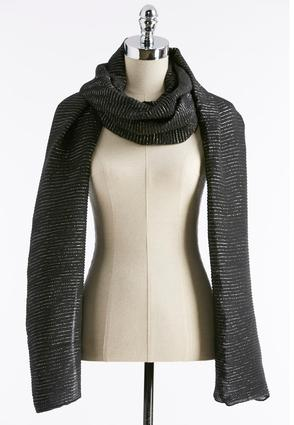 Pleated Metallic Striped Oblong Scarf