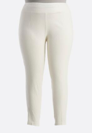 Textured Piped Slim Leg Pants- Plus