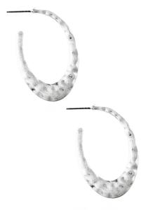 Hammered Open Hoop Earrings