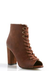 Lace Up Peep Toe Ankle Boots