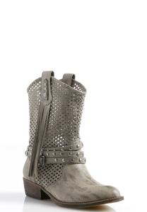 Perforated Fringe Western Boots