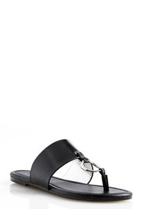 Metal Grommet Thong Sandals