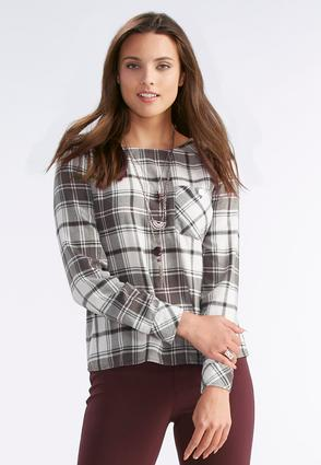 Plaid Button Back High- Low Top- Plus
