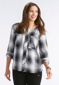 Graphic Plaid Button Down Shirt-Plus