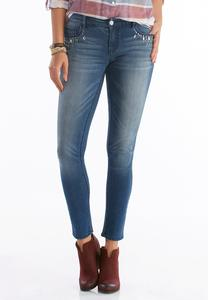 Jeweled Super Skinny Jeans-Petite