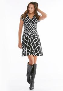 Windowpane Jacquard Fit and Flare Dress-Plus