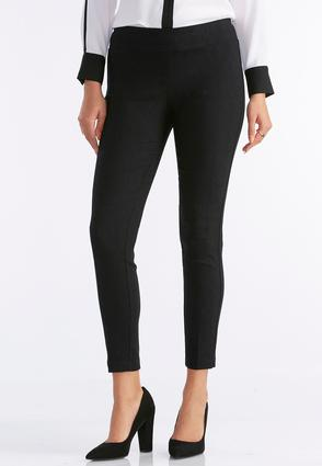 Textured Piped Slim Leg Pants