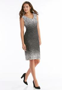 Ombre Polka Dot Sheath Dress-Plus