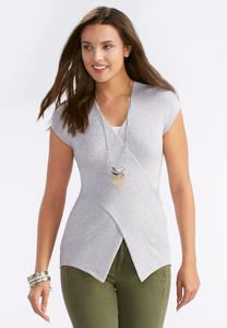 Ribbed Wrap Sweater-Plus