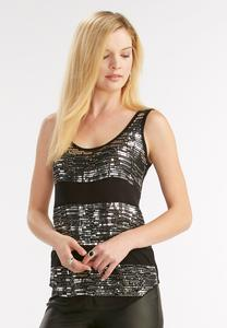 Beaded Sequin Striped Tank-Plus