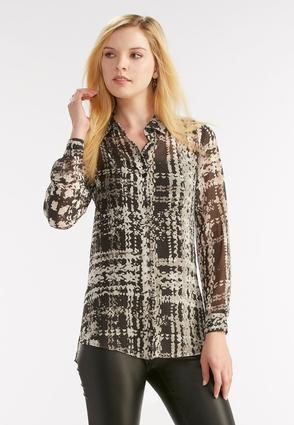 Sheer Abstract Button Down Shirt
