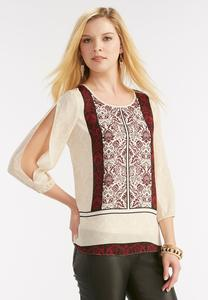 Damask Placement Print Top