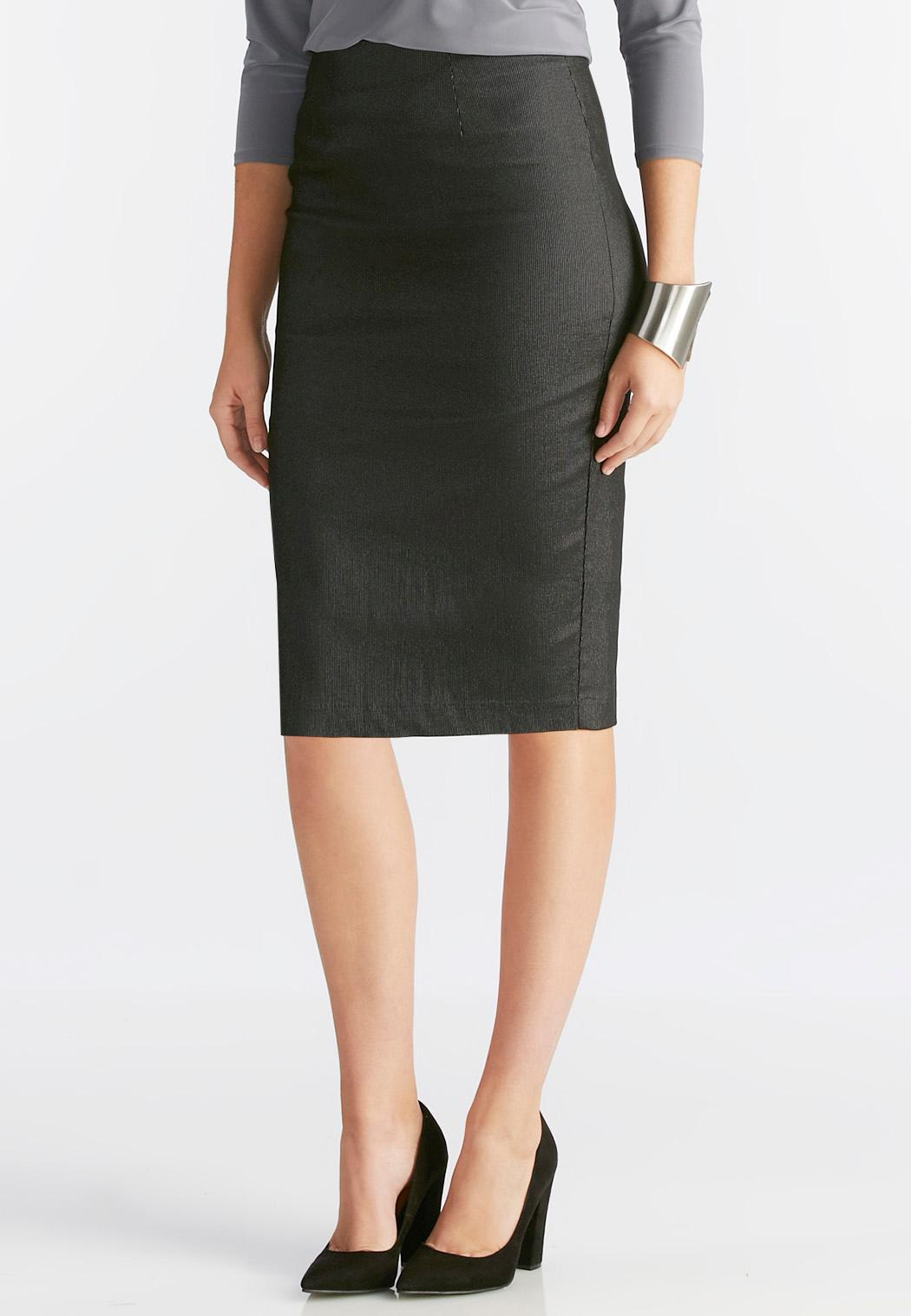 metallic pinstriped pencil skirt plus below the knee