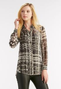 Sheer Abstract Button Down Shirt-Plus