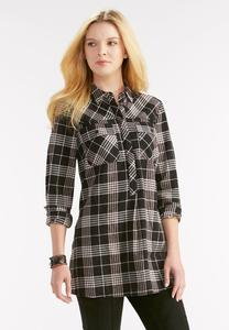 Side Slit Plaid Tunic-Plus