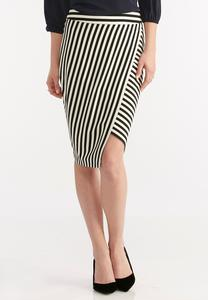 Faux Wrap Striped Ponte Skirt