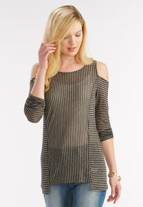 Cold Shoulder Mixed Striped Knit Top