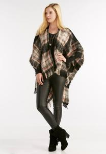 Frayed Plaid Wrap