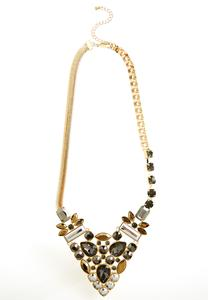 Mixed Chain Stone Cluster Bib Necklace