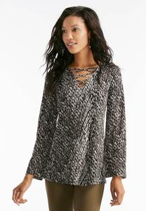 Graphic Lattice Neck Swing Top-Plus