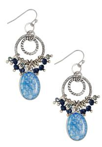 Shaky Stone and Cluster Dangle Earrings