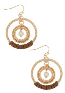 Suede Wrapped Hammered Hoop Earrings