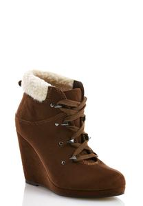 Sherpa Trim Lace Up Wedge Shooties