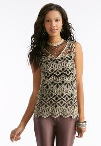 Embroidered Mesh Lace Mock Neck Tank