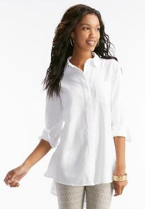 Textured Button Down Swing Shirt