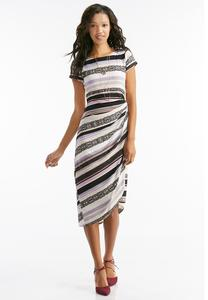 Mixed Stripe Knotted Wrap Dress