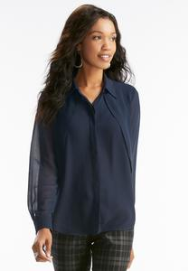 Flyaway Sheer Button Down Top-Plus