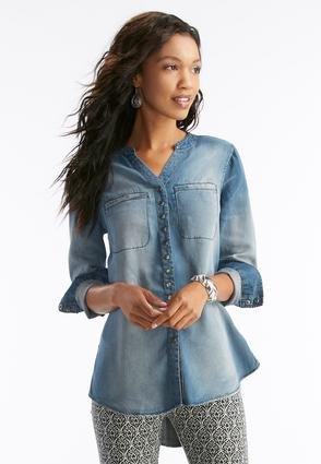 Snap Button Chambray Tunic- Plus