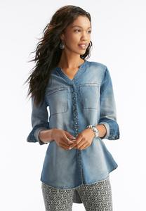 Snap Button Chambray Tunic-Plus
