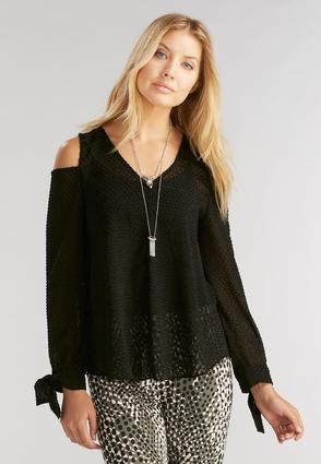 Swiss Dot Cold Shoulder Top- Plus
