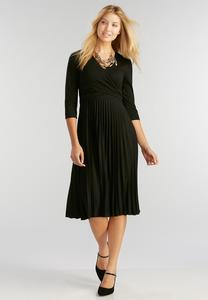 Pleated Faux Wrap Midi Dress-Plus