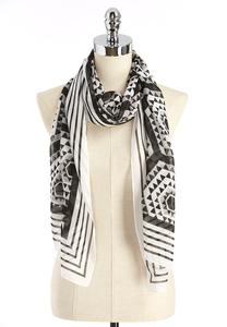 Bordered Geometric Oblong Scarf