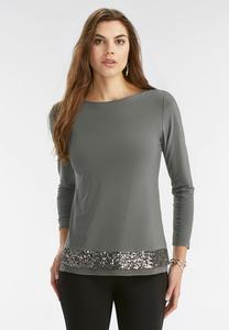 Sequin Trim Knit Top- Plus
