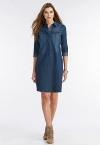 Denim Shirt Dress- Plus
