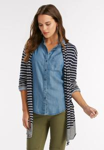 Nautical Striped Cardigan-Plus