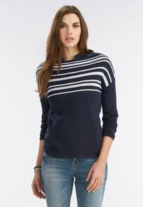Striped Pullover Sweater-Plus