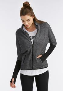 Marled Knit Athleisure Jacket